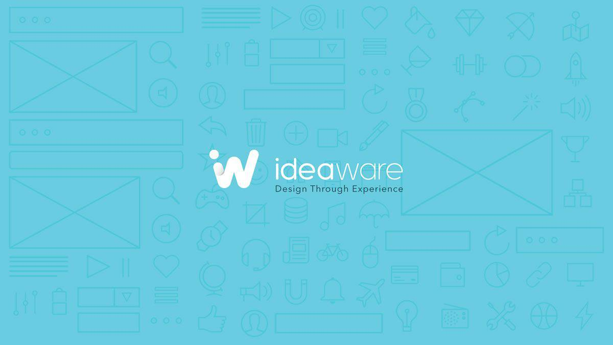 The Ideaware logo against a background of flat illustrated graphic design elements.