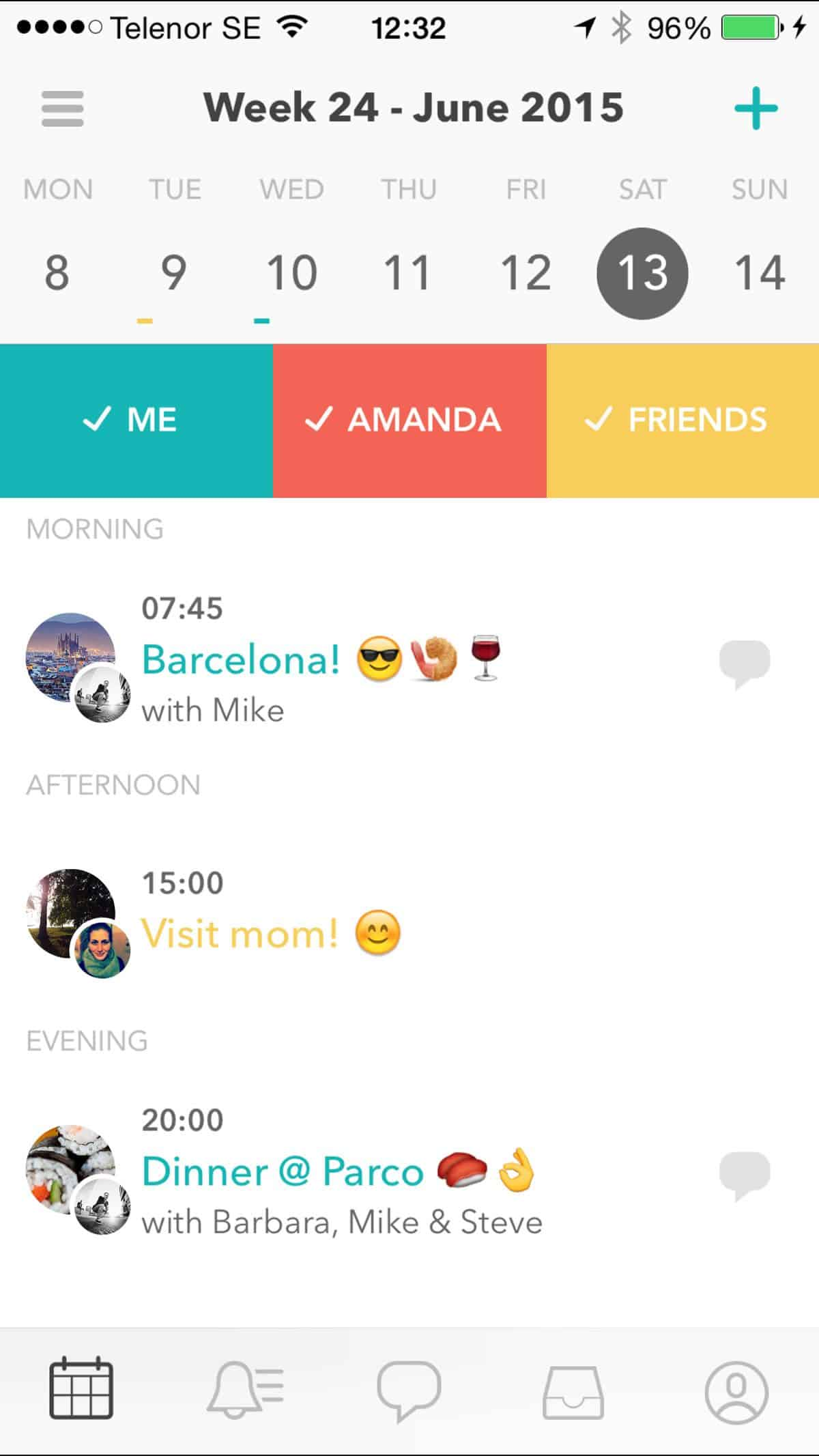 Raft uses bold and fun colors in their app design to encourage social sharing and planning