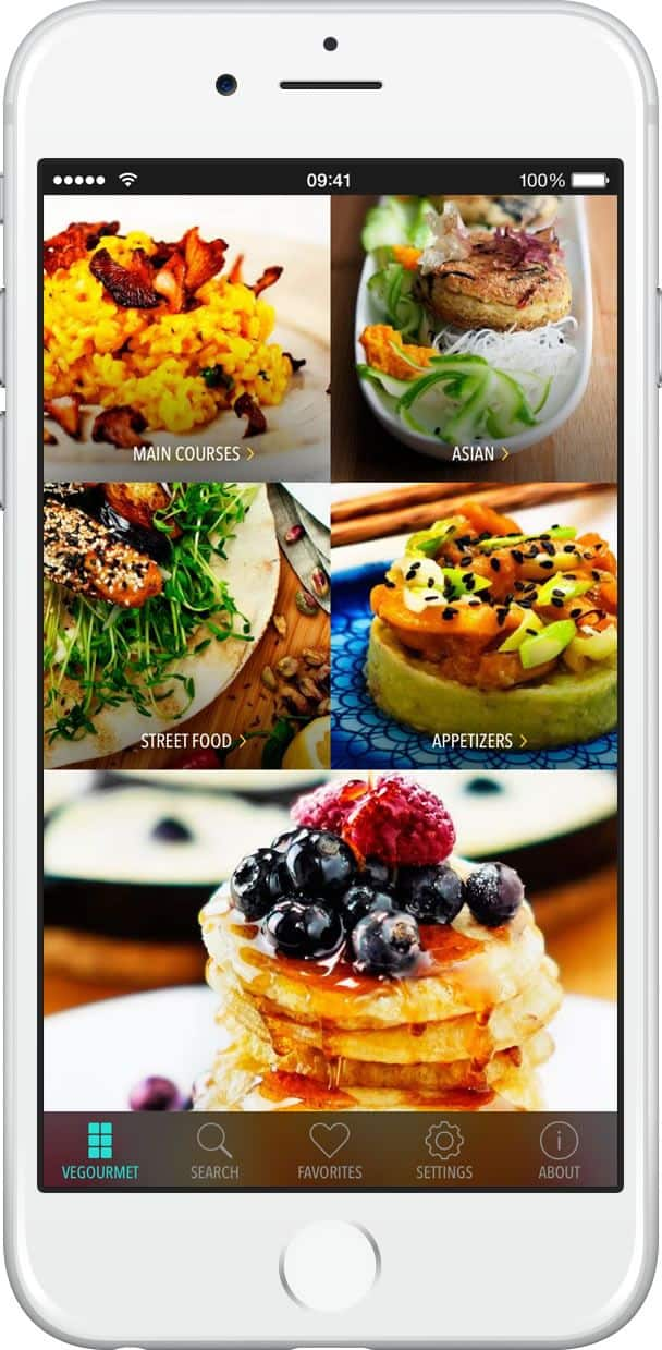 The vegan recipe app uses a grid style in the app design to present food categories