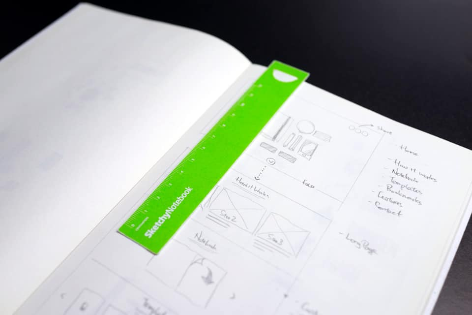Wireframes and notes on an opened SketchyNotebook with green placeholder.