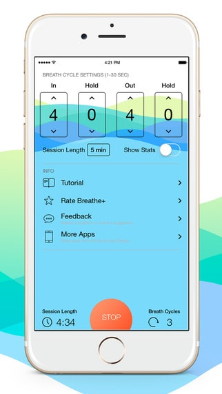 Screenshot of beautifully designed app Breathe+ for iPhone 6.