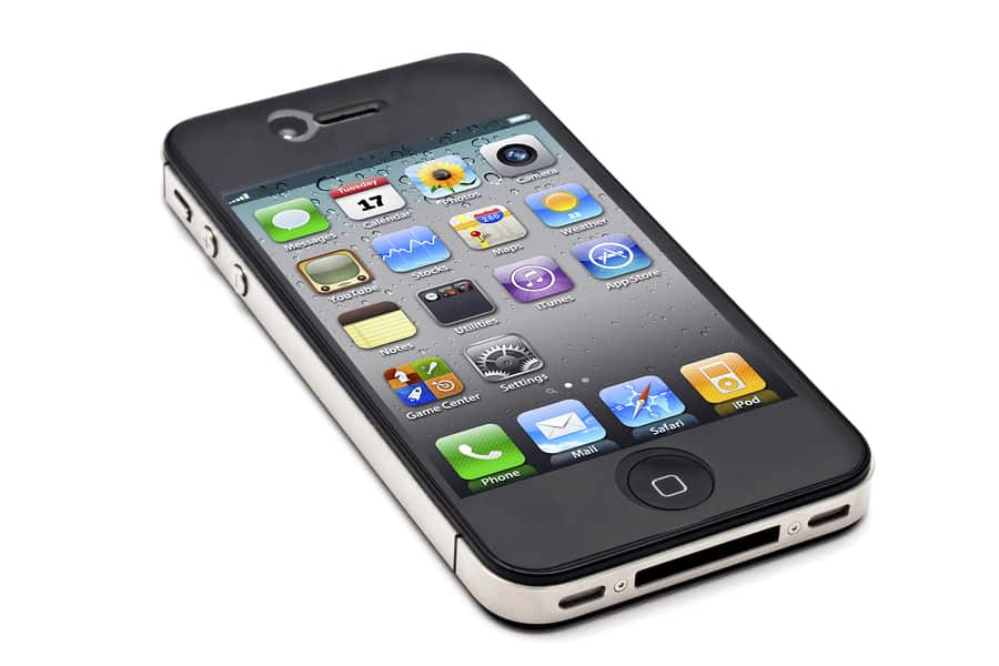 An image of a black iPhone 4S on a white background.