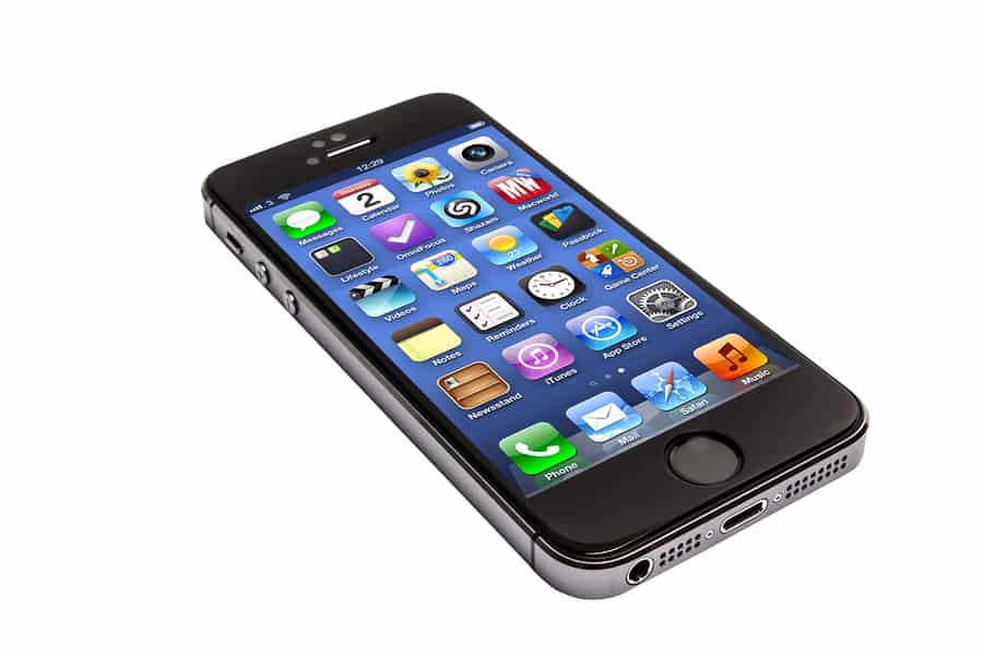 An image of a black iPhone 5 on a white background.