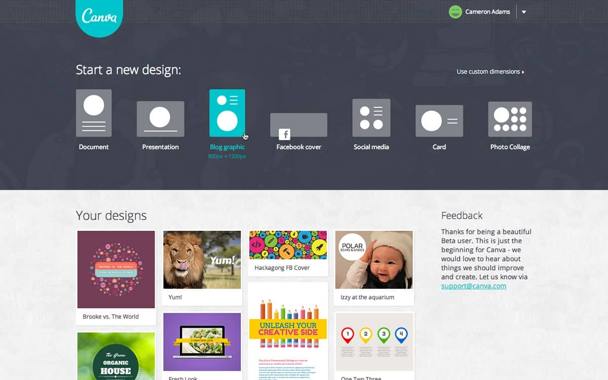 A screenshot of the Canva webpage asking what kind of new design you would like to make.