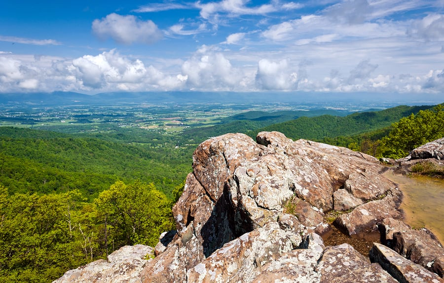 A photo of the Shenandoah Valley taken atop the Blue Ridge Mountains, offering a perfect example of effortless visual design.