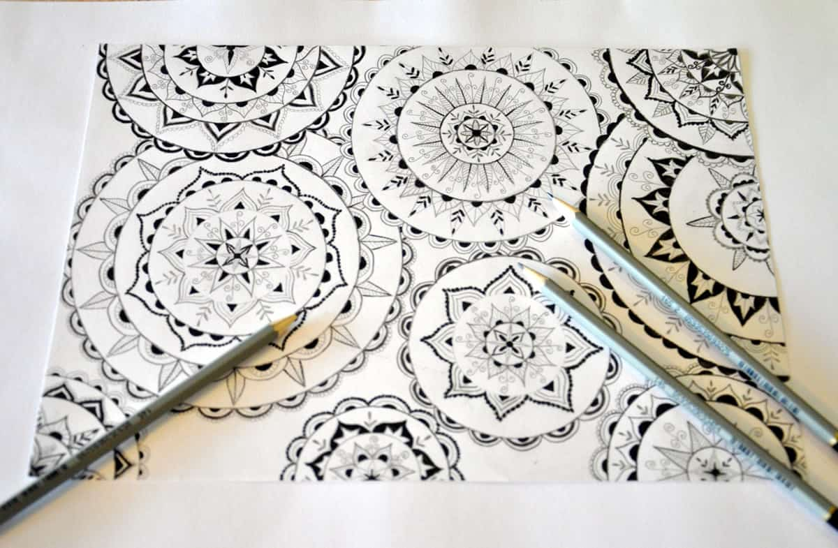 A photo of a mandala drawing in black and white.