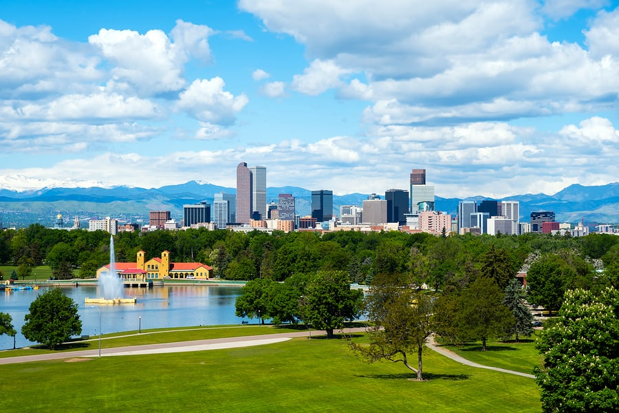 A photo of an urban park in downtown Denver, Colorado. It's easy to find visual design inspiration in effortlessly beautiful settings.