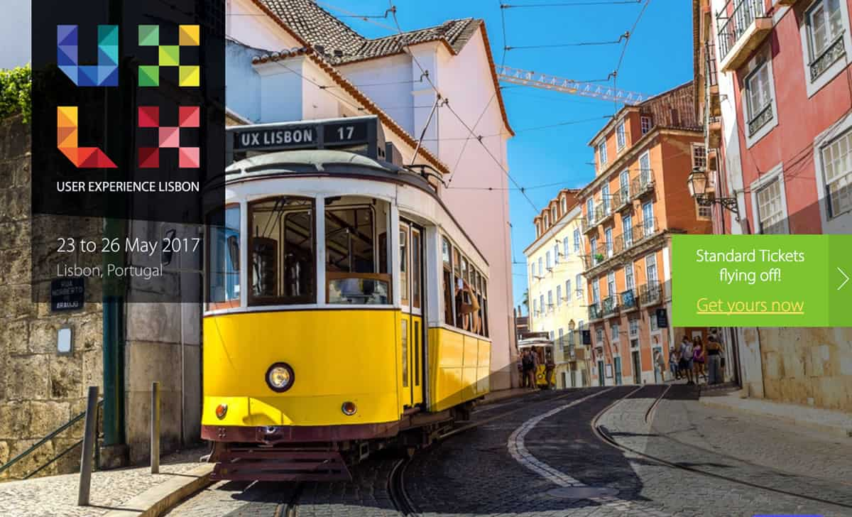 Image of the homepage for UX Lisbon 2017.