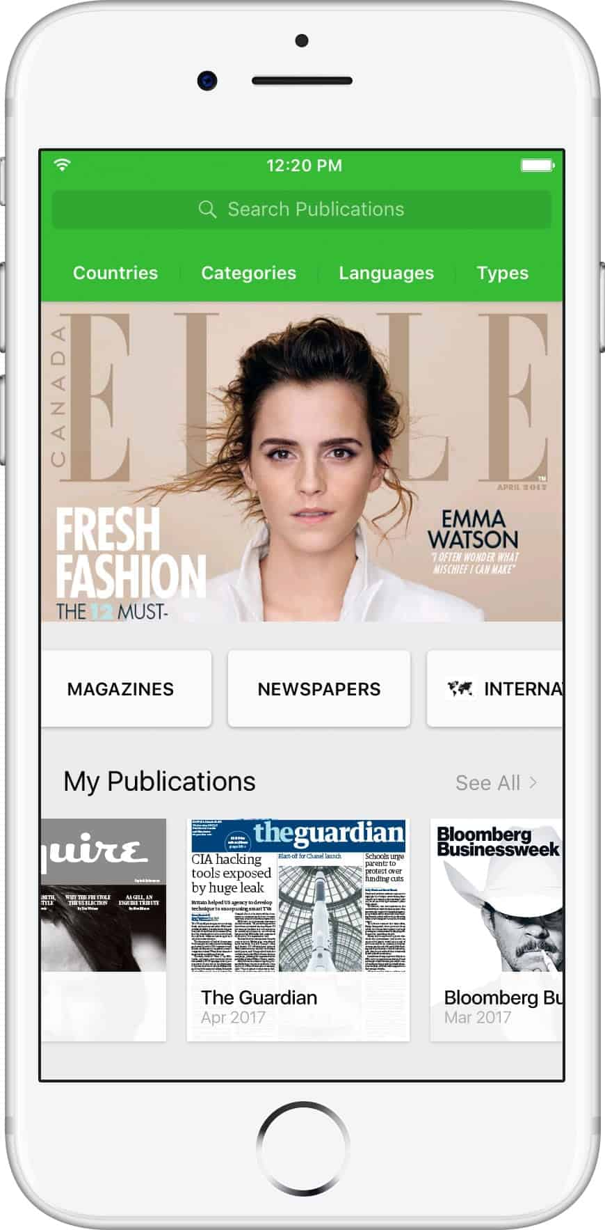 An image of the PressReader app displayed on an iPhone showing the cover of Elle magazine, featuring Emma Watson.