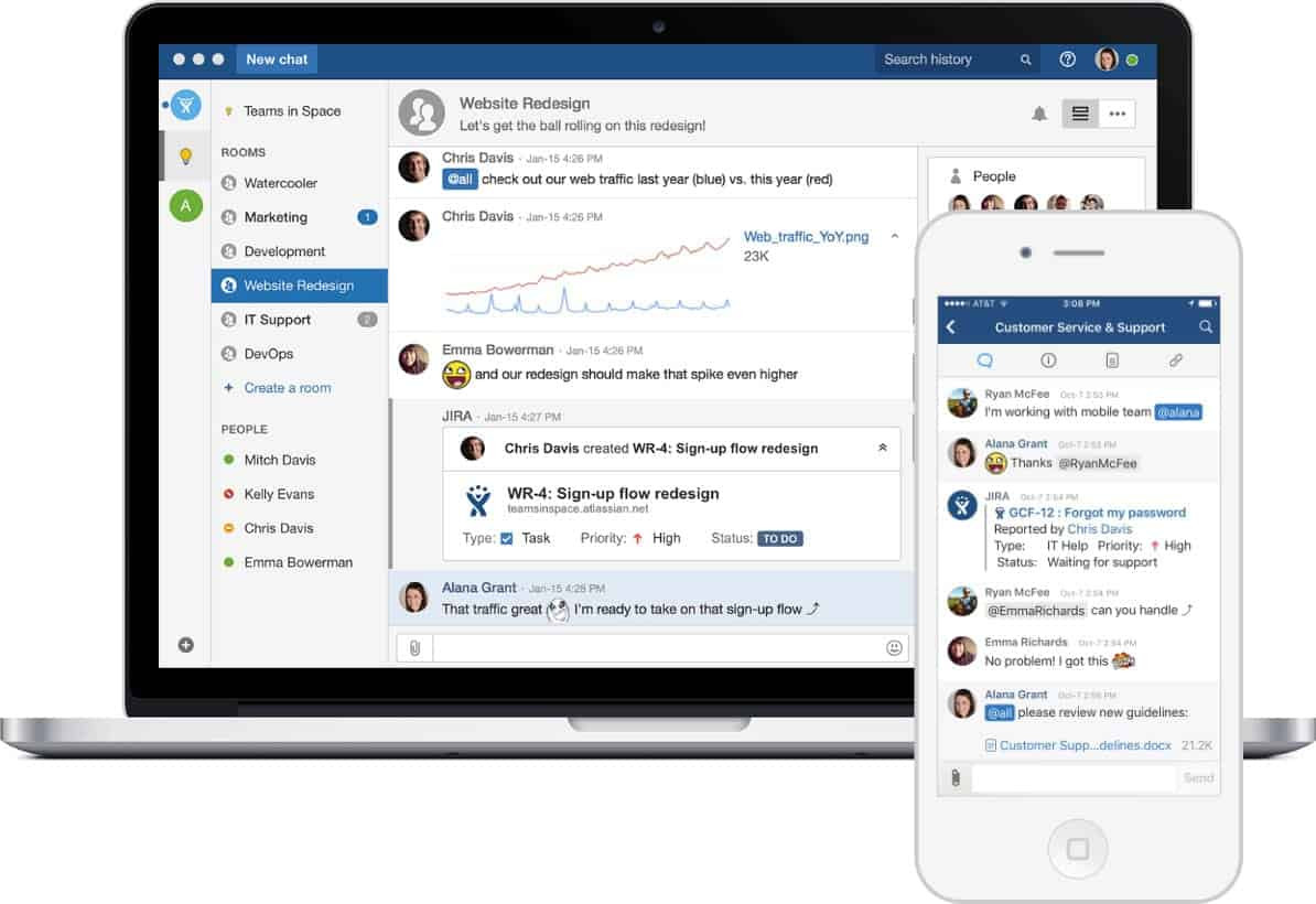 Image of HipChat on mobile and laptop.