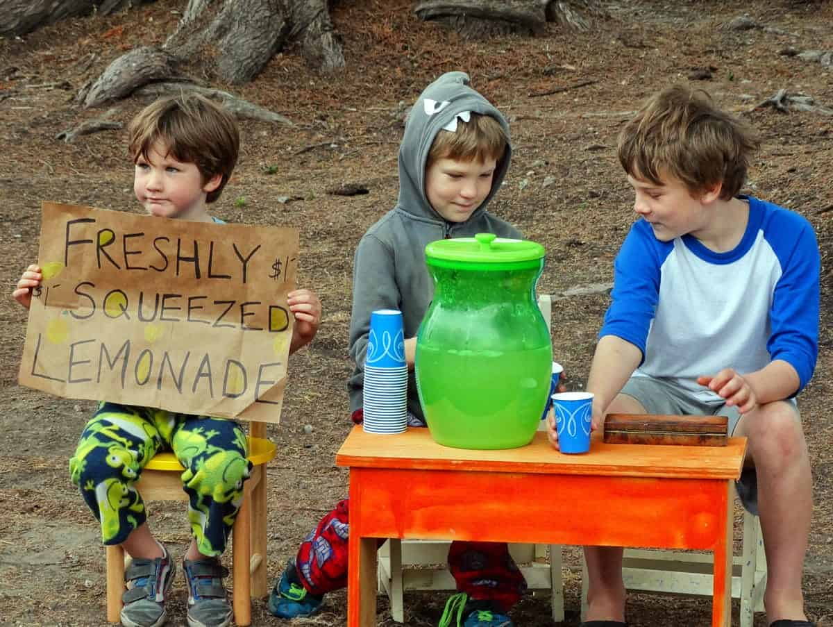 A photo of three young boys manning a lemonade stand in a park.