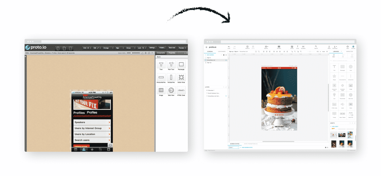 Image of proto.io editor before and after