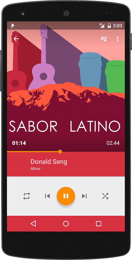 Android only mobile app UI Phonograph screenshot