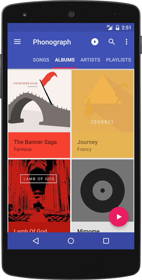Music player Phonograph mobile app UI