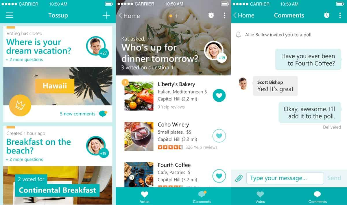 Tossup mobile app UI for organizing social events by Microsoft Garage