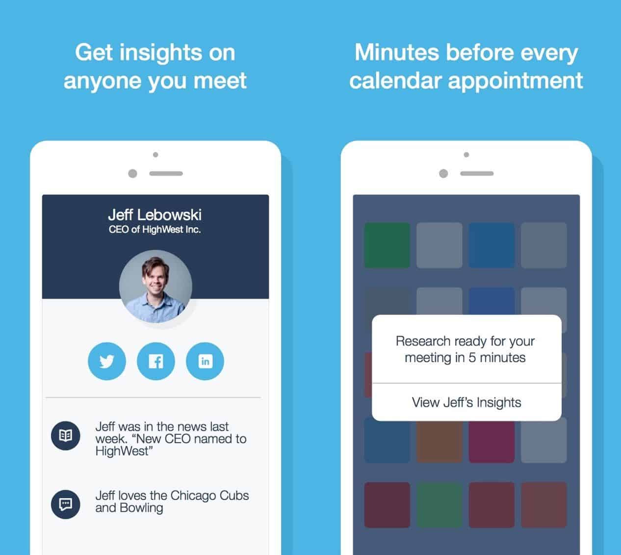 Mobile app UI Charlie your personal meeting assistant
