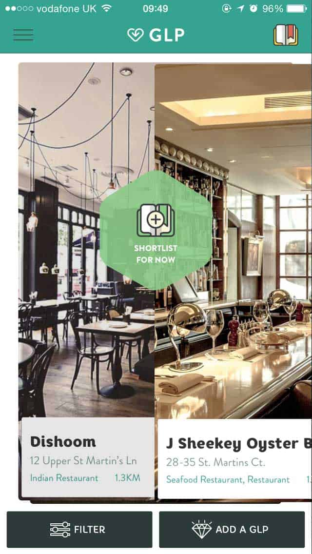 Great Little Place mobile app UI is the Tinder of restaurants and local eateries