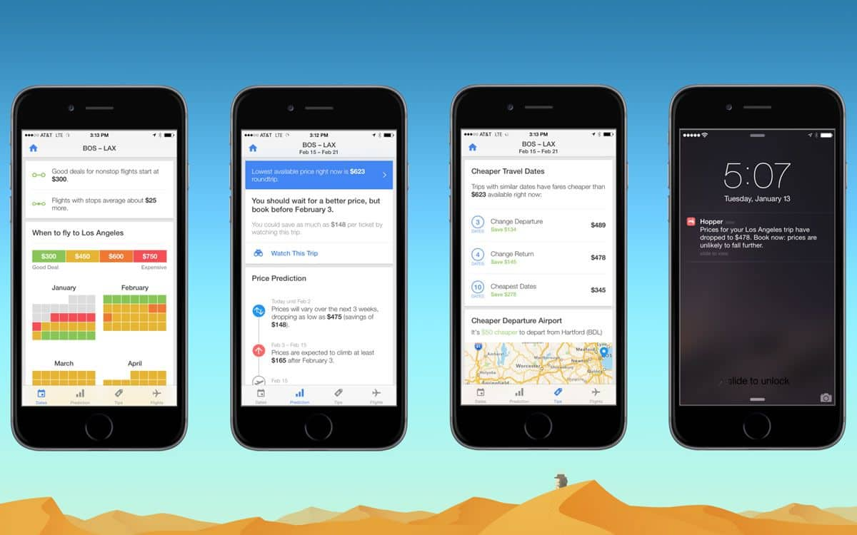 Flight deals search mobile app Hopper presents a clean, sleek app UI