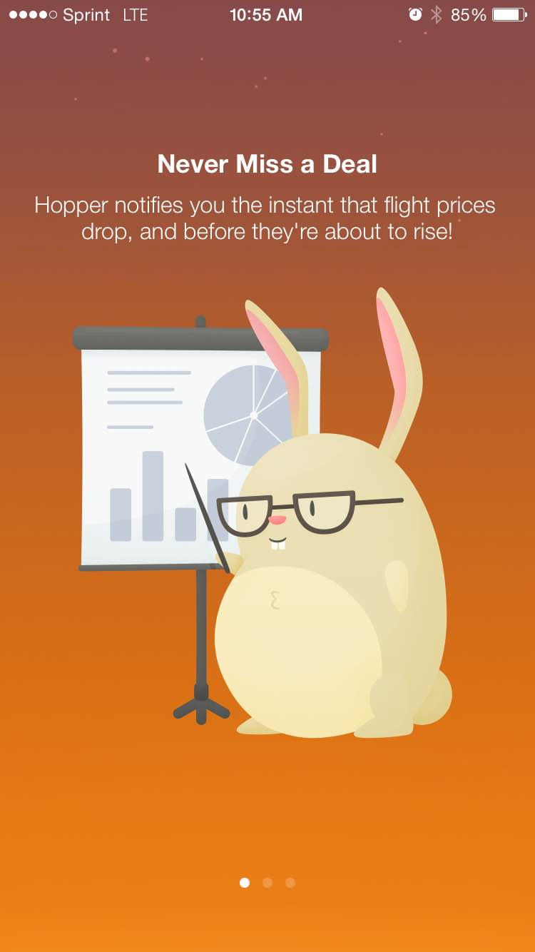 Mobile app UI Hopper's user onboarding screen with mascot bunny