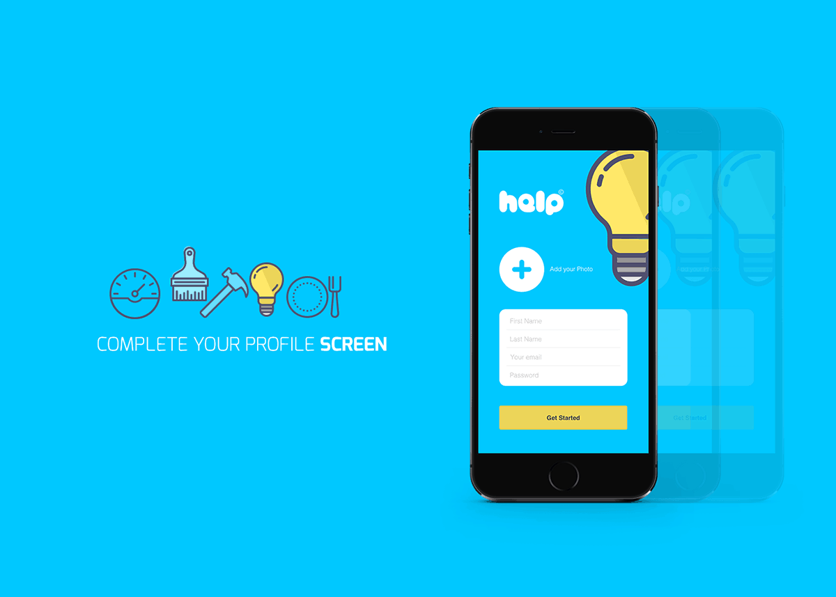Stunning mobile app UI for Help a service contracting mobile app