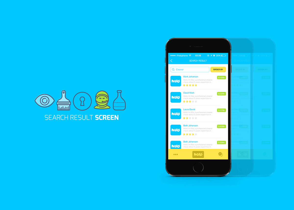 Great UX and beautiful app UI of mobile app Help for hiring any kind of help