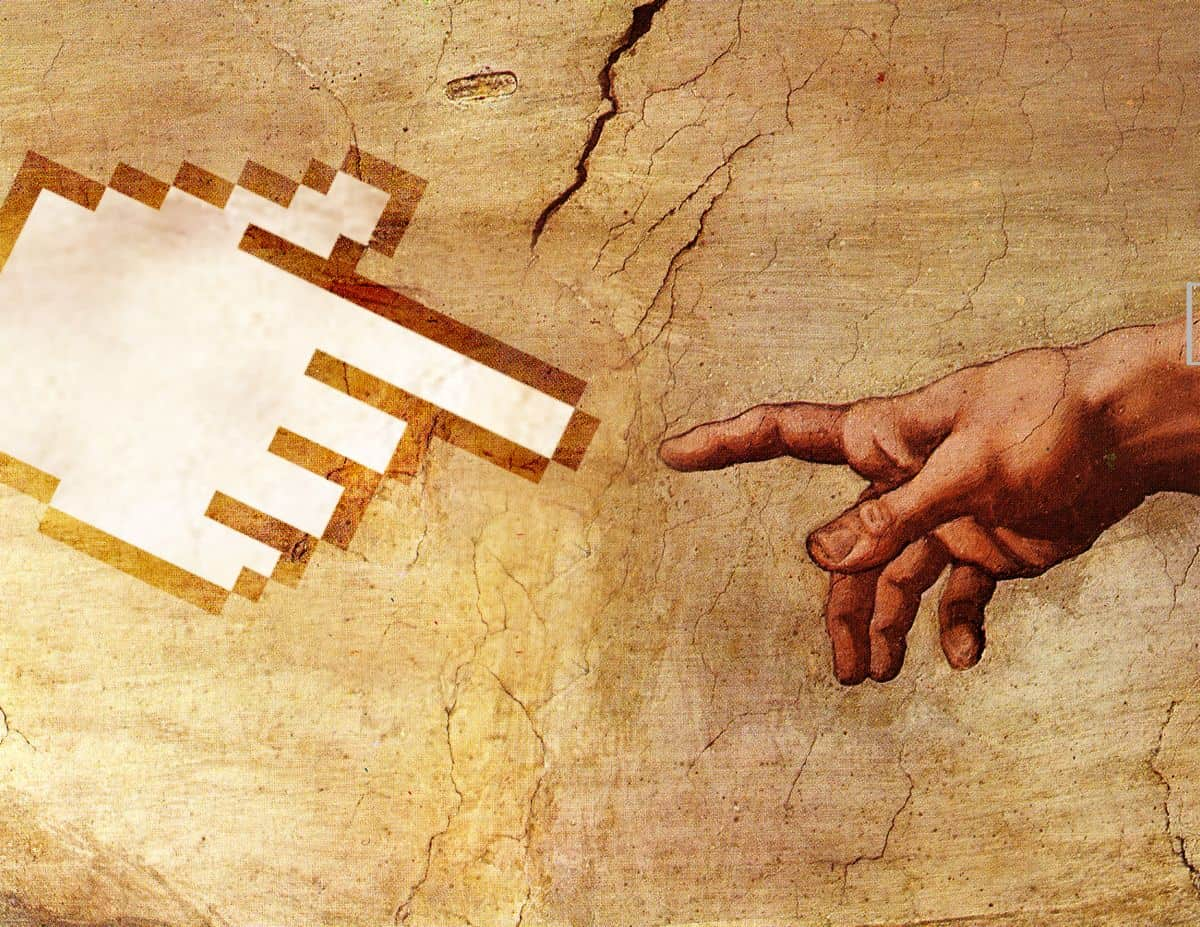 "A parody of the Michelangelo painting ""The Creation of Adam,"" with a white hand-shaped cursor reaching out to touch Adam's hand, symbolizing creativity in mobile app designs."