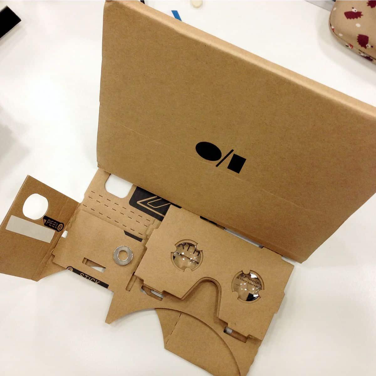 A foldable cardboard virtual reality headset.