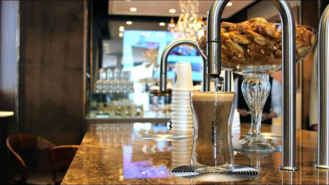 The uniquely beautiful TopBrewer coffee makers in a top-end bar