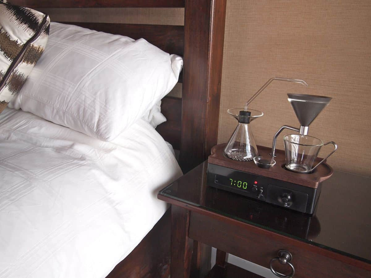 Wake up to fresh hot coffee next to your bed with the Barisieur coffee makers.
