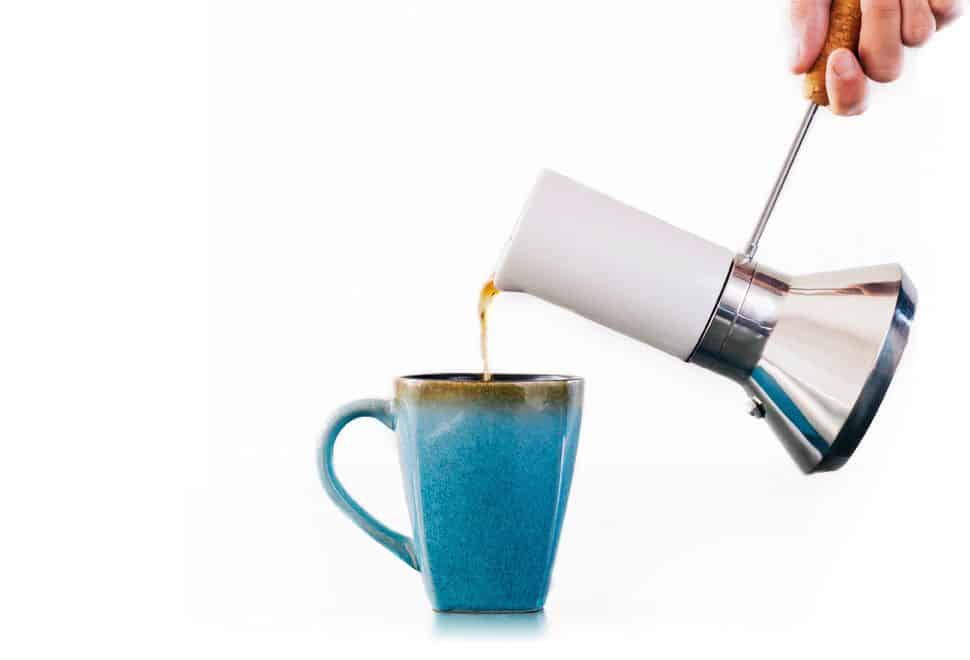 Blue Bottle's Moka Pots features a convenient cork handle as part of their coffee makers' design.