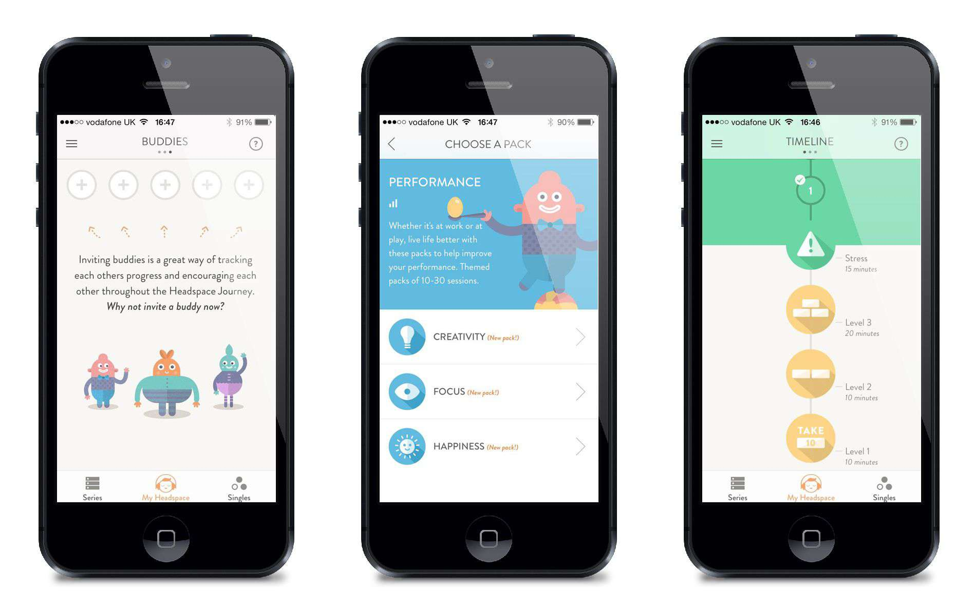 Headspace app for meditation to improve mindfulness