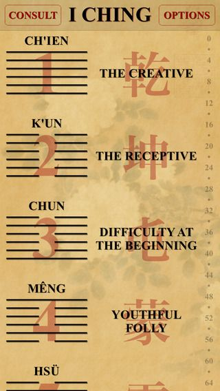 Screenshot of I Ching app for iOS