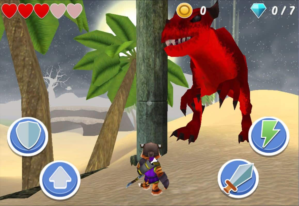 A screenshot from Treasure Dash, showing a small anthropomorphic tiger in a jungle setting being approached by a red dinosaur.