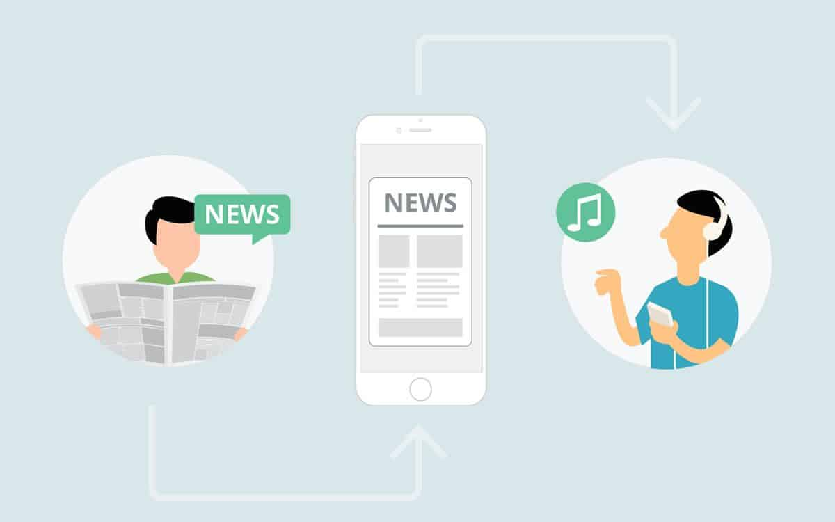 An illustration of a news app that reads out articles to users with visual impairment, also presenting a creative way to make a mobile UI design accessible.