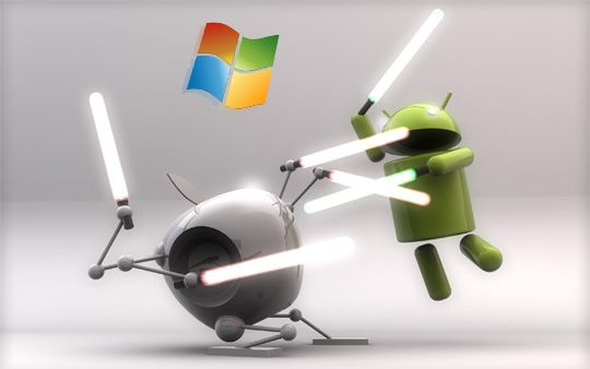 A 3D rendition of Apple's logo and Android's robot mascot engaged in a lightsaber battle with Windows logo hovering in the back.