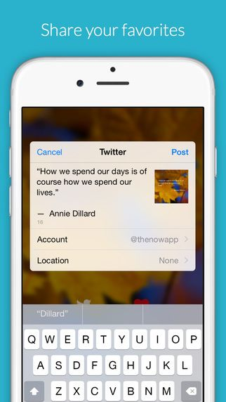 Screenshot of social sharing with The Now app
