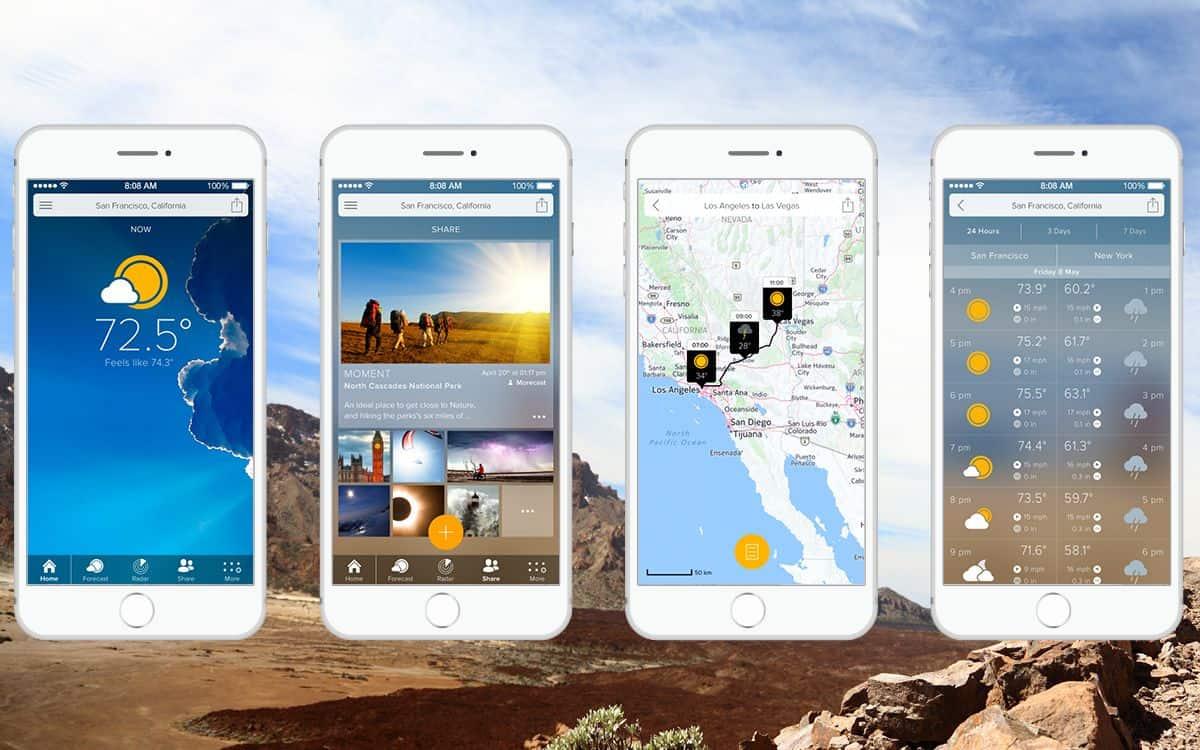 Screenshots of the beautiful app UI design of MORECAST weather forecast app with premium features.