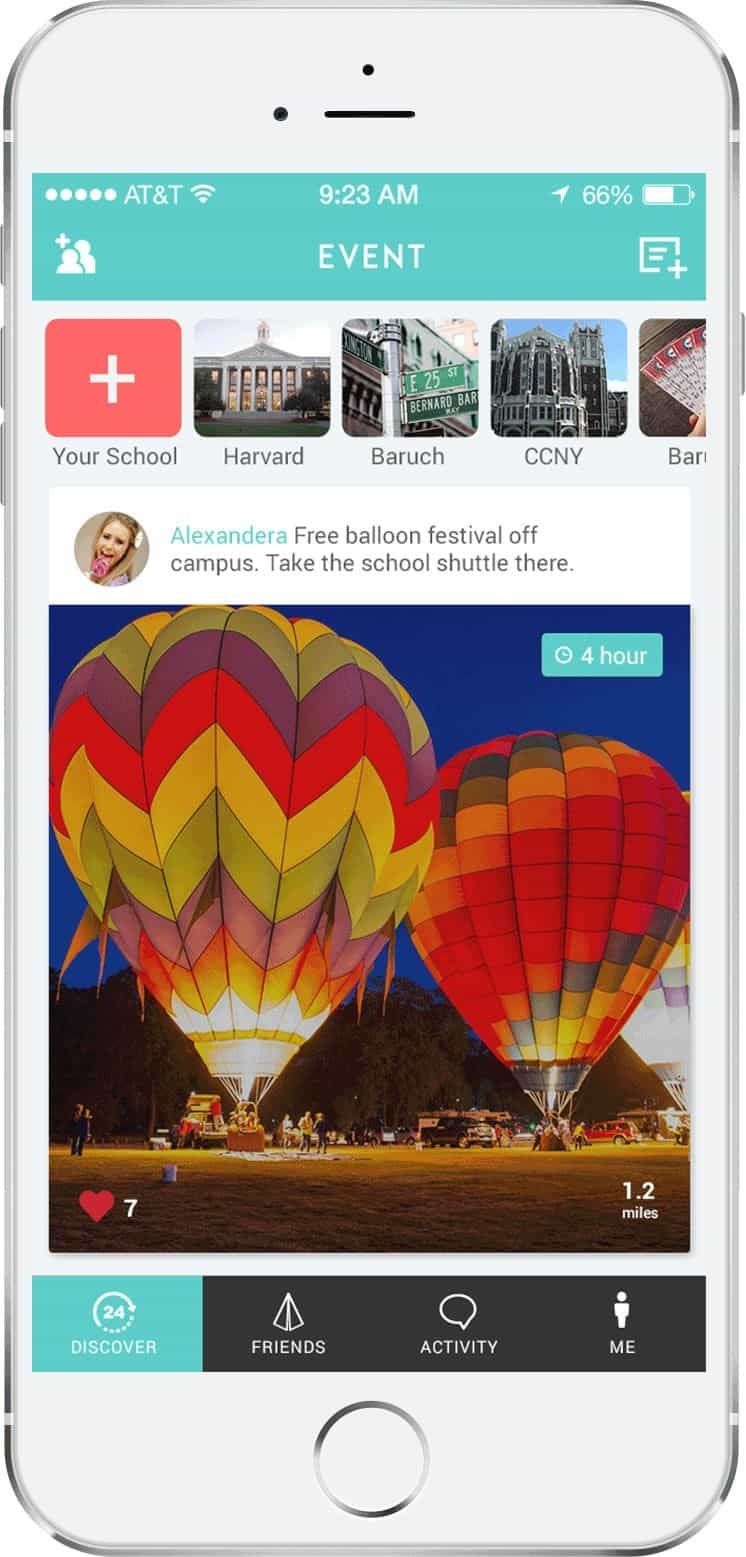Screenshot of the fun-filled app UI design of Linute featuring a free balloon festival at an undefined campus