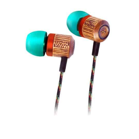 Angled view of tribal style Chant earbuds by House of Marley has an edgy look and feel