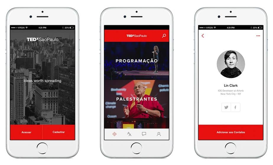 Screenshots of TEDxSaoPaulo on Sinappse, an app concept promoting interaction between brands and users