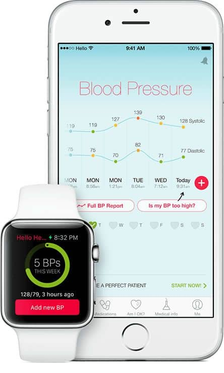 App UI Design of Hello Heart blood pressure management tracking app on iPhone 6 and Apple Watch