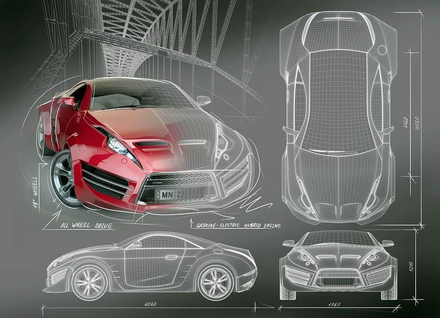 A blueprint of a red concept car displays the car from four different angles.