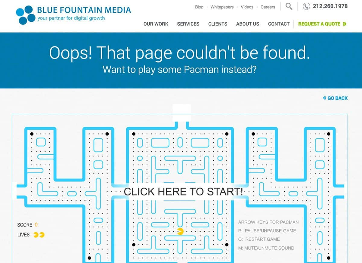 Creative 404 error page that allows users to play Pacman is a great way of turning negative emotions to positive ones.