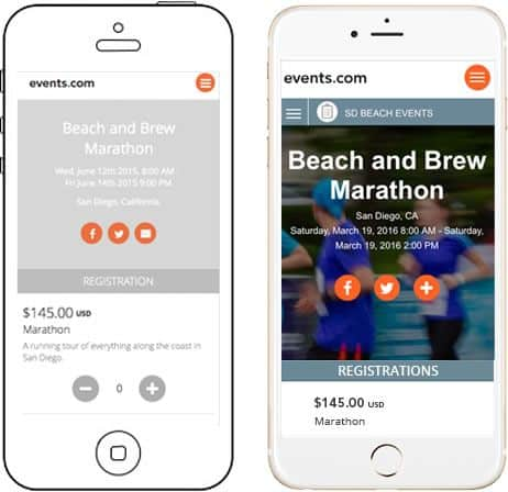 A digital prototype of the events.com mobile UI design, including two smartphone illustrations containing separate screenshots of the app.