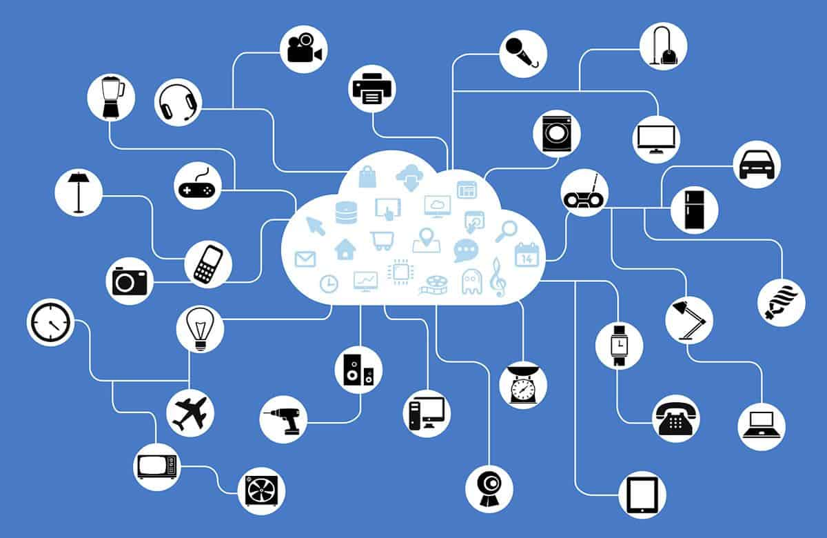 Illustration of devices and services connected via the cloud, a graphical representation of the Internet of Things