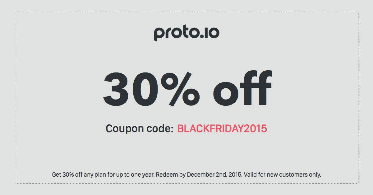 Thirty percent off all plans for Proto.io Black Friday deal