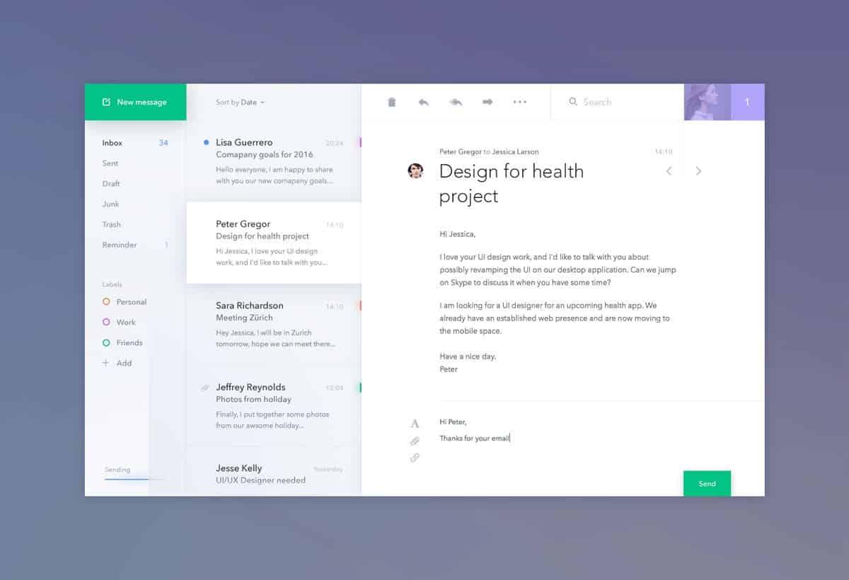 An email client desktop app design by Jakub Antalik