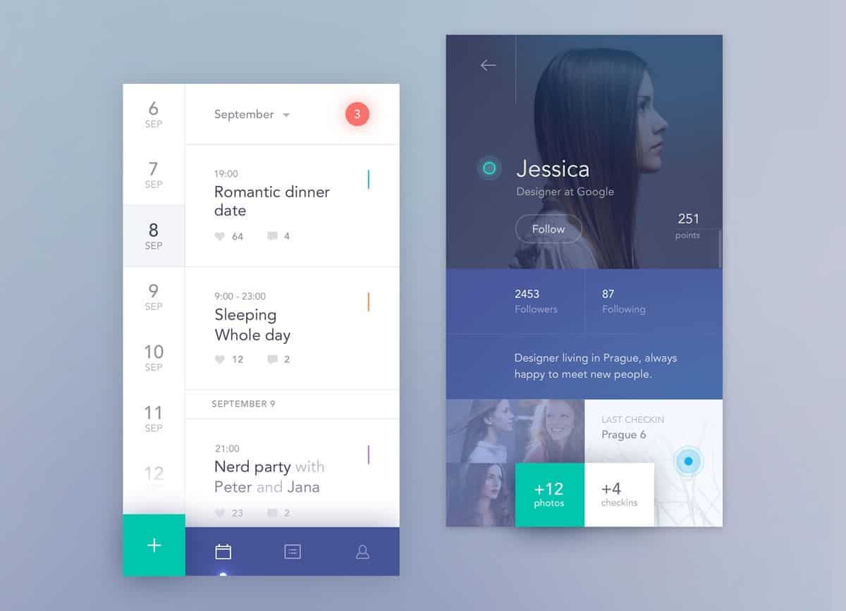 Social calendar app UI design by Jakub Antalik