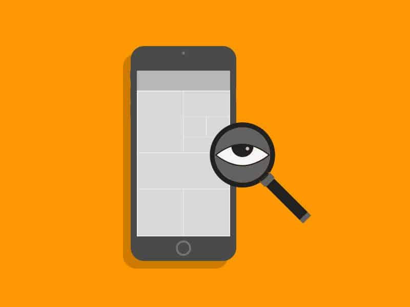 A magnifying glass with an eye going over a mobile app to figure out the problems that necessitate the app redesign.