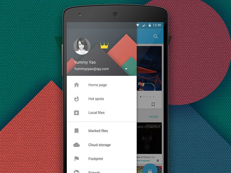 Android's Material Design navigation drawer done according to Google's guideslines for good Android UX design